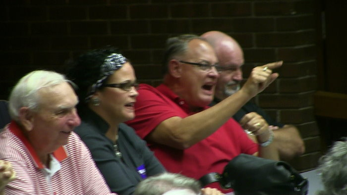 Upset voter at Oklahoma candidate forum reacting to GOP attack on President Obama - McAlester, OK - 10/16/2012